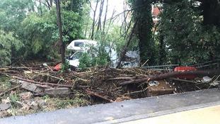 Flood destruction in Leghorn, Italy.
