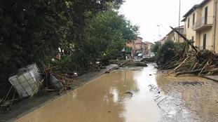 A flooded street in Leghorn, Italy.