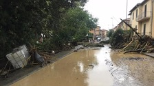A flooded street in Leghorn, Italy.