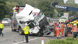 The crash involving two lorries and a minibus happened on the M1 at Newport Pagnell near Milton Keynes over the August Bank Holiday weekend.