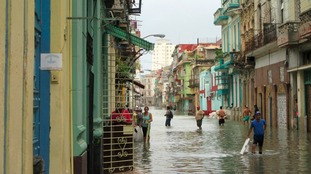A street is completely flooded in Havanna, Cuba after Hurricane Irma struck.