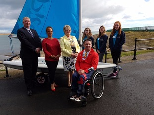 Cllr John Kelly, Project Director Michelle Daurat, Mayor Doris MacKnight and John Robertson with Sail Trainees