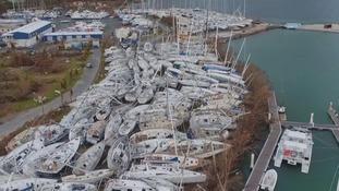 A marina after Hurricane Irma.