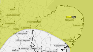 The area of the Anglia region covered by the Met Office yellow weather warning on Tuesday into Wednesday.