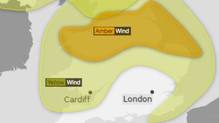 The amber and yellow weather warning areas for strong winds on Tuesday night into Wednesday.