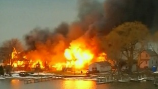 The scene of the fire in Webster, New York