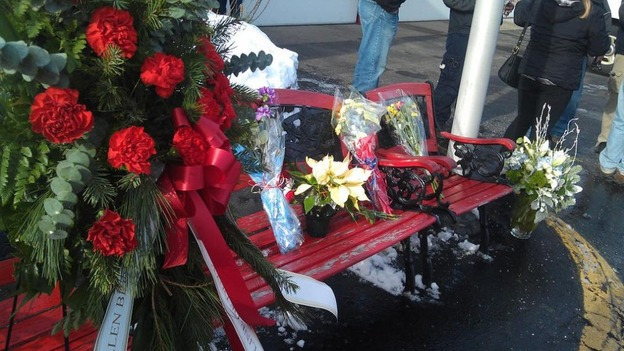 Flowers laid outside West Webster Fire Station