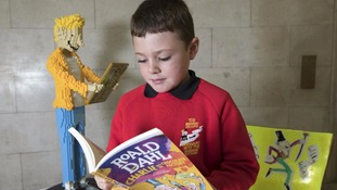 A young reader enjoys Roald Dahl's Charlie and the Chocolate Factory.