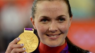 Pendleton dons the Great Britain flag after winning gold