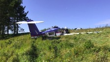 The wreckage of the Piper aircraft at Wolferton on the Sandringham Estate.