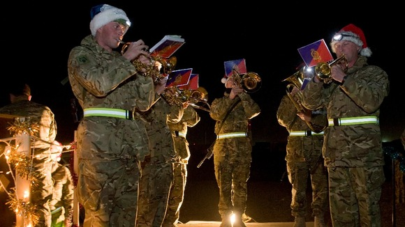 Soldiers celebrating in Camp Bastion 