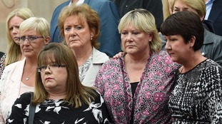 Victims of Paterson outside Nottingham Crown Court