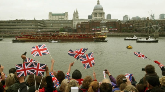 Well-wishers lined the Thames to watch the Diamond Jubilee Pageant