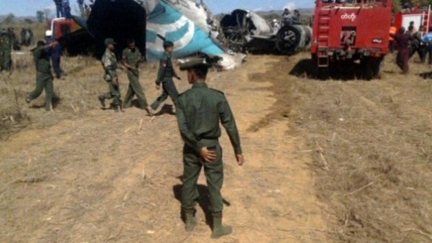 Burma plane crash scene