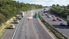 The male pedestrian is believed to have left his car parked on the hard shoulder.
