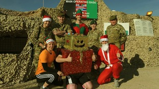 Troops celebrate Christmas at the main operating base in Helmand Province, Afghanistan
