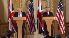 Foreign Secretary Boris Johnson and US Secretary of State Rex Tillerson held a joint press conference in London.