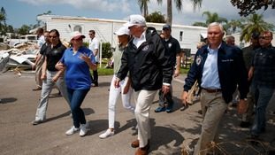 Donald and Melania Trump tour areas damaged by Hurricane Irma.