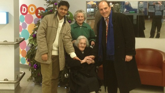 Shaker Ahmad, Vera Law and Simon Hughes (left to right) with 113-year-old Grace Jones.