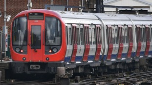 A tube train at Parsons Green station in west London.