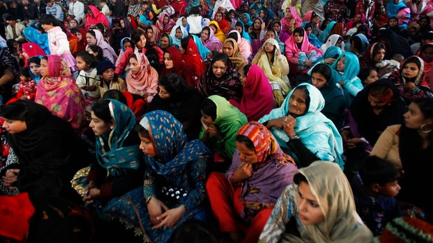 Pakistani Christians attend a mass at a cathedral church in Peshawar