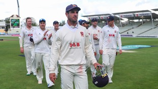 Essex captain Ryan ten Doeschate leads his team off after beating Warwickshire during the Specsavers County Championship match at Edgbaston, Birmingham.