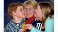 Rhona Martin kissed by son Andrew and daughter Jennifer
