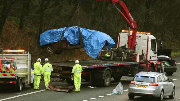 Scene of a crash on the M6 northbound carriageway between junctions 14, near Stafford, and 15, near Stoke-on-Trent.