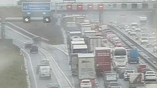 Traffic congestion on the M1 in Bedfordshire after a crash between a car and a lorry.