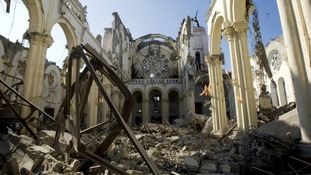 A destroyed cathedral seen in Port-au-Prince in the aftermath of an earthquake in 2010