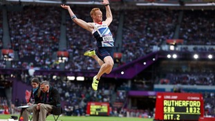 Greg Rutherford on in action during the Men's Long Jump