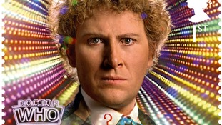 Doctor Who stamp, showing the sixth Doctor Colin Baker