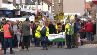 Hundreds take to streets in protest over fracking plans