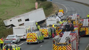 The scene of the crash on the M5.