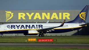 A Ryanair plane at Stansted Airport