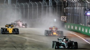 Hamilton wins in Singapore to extend his World Championship lead as Vettel crashes out in lap one