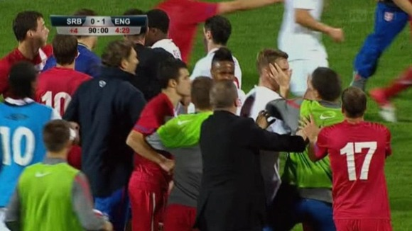 Serbia and England faced sanctions over a brawl in an U-21 match