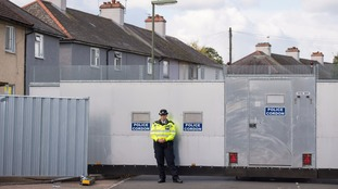 A police cordon at an addressed searched in Sunbury-on-Thames.