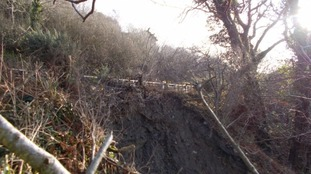 Winter storms in November 2014 caused the landslip