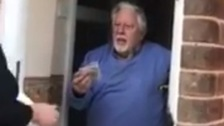 Michelle Spary surprised the elderly man with some money and groceries.