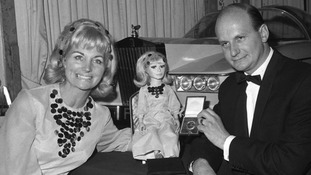 Gerry Anderson receiving a television society medal in 1966 with his then-wife Sylvia
