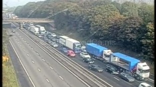 Pictures from Highways Agency cameras show the queues