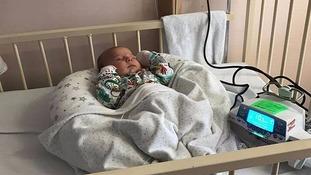 Baby Maliki in hospital