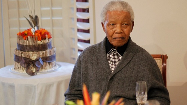 Former South African President Nelson Mandela as he celebrates his birthday in July