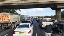 Traffic at a standstill on the M1