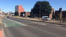 The crash scene at Cleveland Street in Doncaster