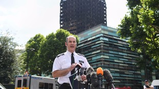 Commander Stuart Cundy speaking in the wake of the fire in June