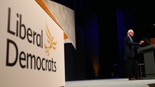 Norman Lamb MP makes a speech at the Liberal Democrats conference at the Bournemouth International Centre.
