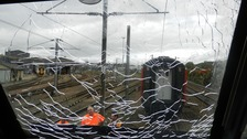Train driver's shock as brick shatters windscreen