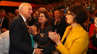 Liberal Democrats leader Sir Vince Cable (left) is congratulated by Sarah Olney and Layla Moran MP (right) after giving his keynote speech at his party's annual conference.